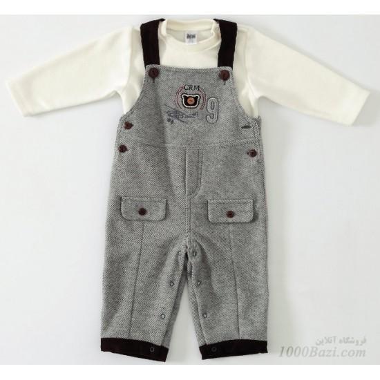 لباس مجلسی نوزادی دو تکه کتان Caramell