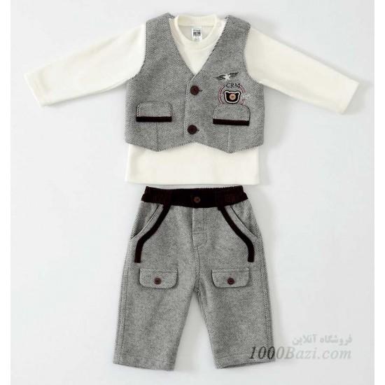 لباس نوزادی ست سه تکه کتان Caramell