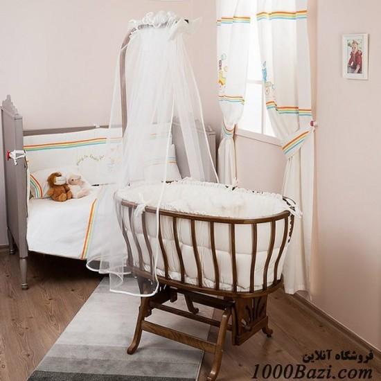 گهواره چوبی قهوه ای موزيکال با سرويس خواب Aybi Baby