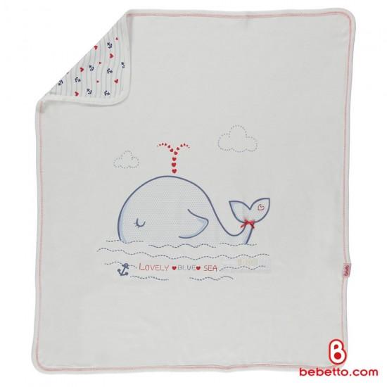 پتو نوزاد نخی نرم طرح نهنگ Bebetto