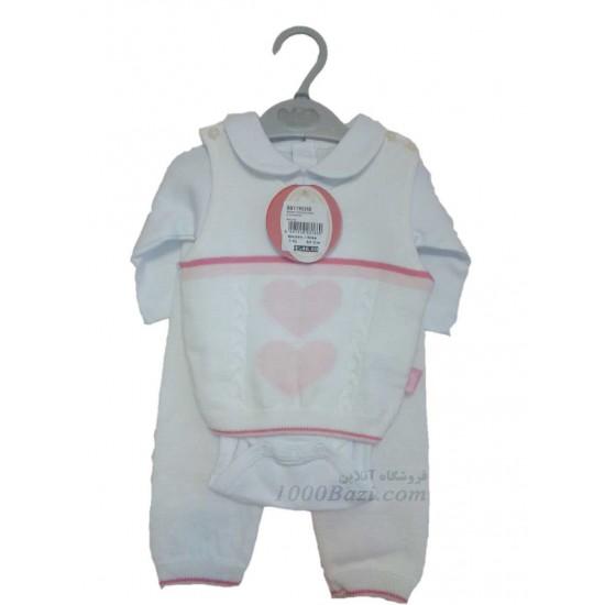لباس بچه بافت سه تیکه 3 ماهه Bebetto ترکیه