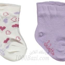 جوراب نوزاد نخی دخترانه 0تا6 ماه بنفش Bebetto