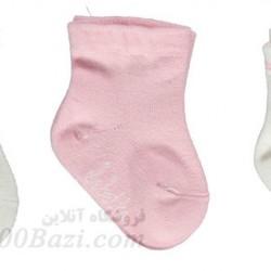 جوراب بچه نخی دخترانه 0تا3 ماه گلبه ای Bebetto