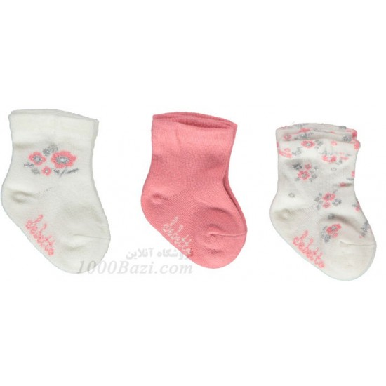 جوراب بچه نخی دخترانه 0تا3 ماه صورتی Bebetto