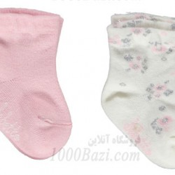 جوراب نوزاد دخترانه 0تا6 ماه صورتی گلدار Bebetto