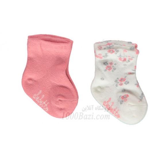 جوراب نوزاد دخترانه 0تا6 ماه گلبهی گلدار Bebetto
