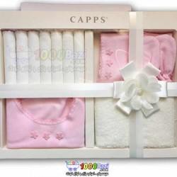 ست دستمال، پیشبند، کلاه، جوراب نوزاد دخترانه Cassiope