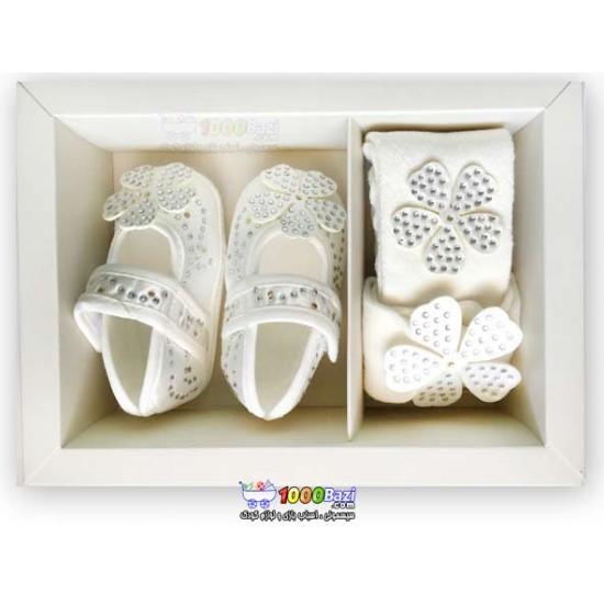 ست دخترانه کفش، هدبند ،جوراب شلواری نوزاد Cassiope