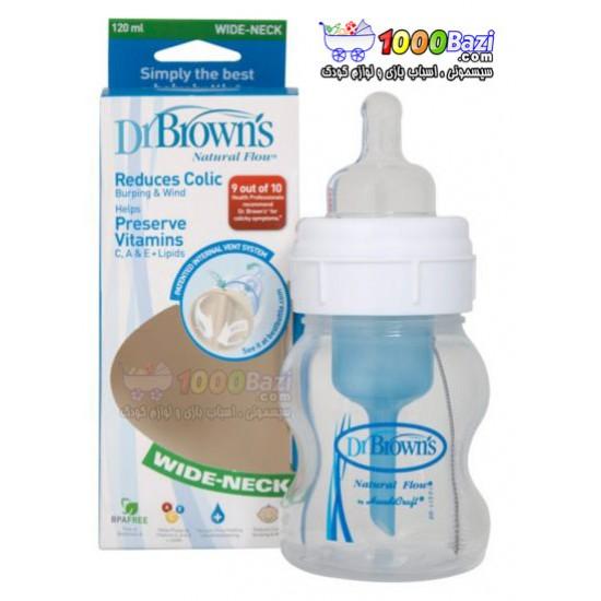 شیشه شیر 120 میل تکی پهن Dr.Browns