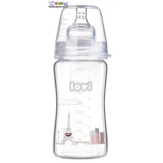 شیشه شیر پیرکس 250 میل بالای 3 ماه Lovi