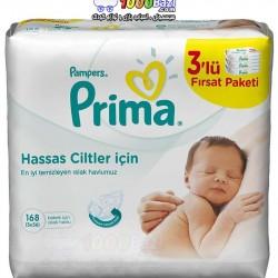 پک سه تایی دستمال مرطوب تمیز کننده کودک 168 عدد Prima