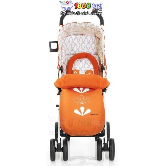 کالسکه تک عصایی نارنجی با کیف تعویض Cosatto