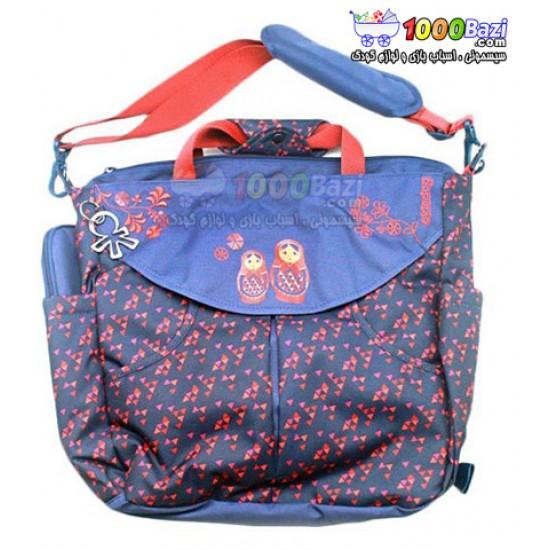 کیف کوله پشتی لوازم نوزاد آبی تیره/قرمز Okiedog Dahoma Sumo