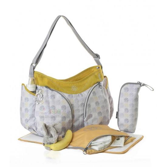 کیف لوازم بچه اوکی داگ مدل موندو خاکستری طلایی