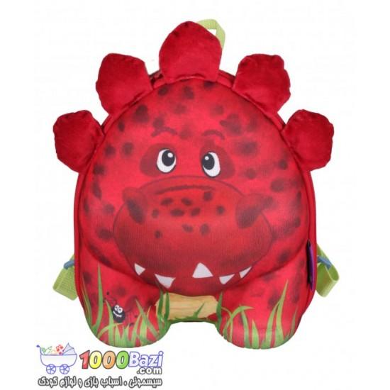 کوله پشتی بچه گانه مدل دایناسور قرمز Okiedog Dinosaur