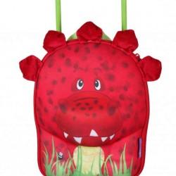 کیف بچه گانه دسته دار و چرخ دار طرح دایناسور قرمز Okiedog