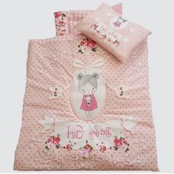 سرویس سه تکه خواب نوزادی طرح دخترانه گلبهی baby Girl