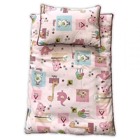 سرویس سه تکه خواب نوزادی طرح حیوانات صورتی