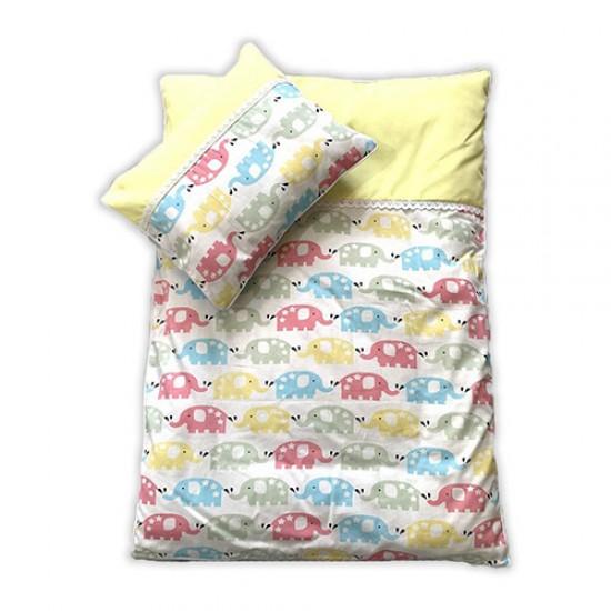سرویس سه تکه خواب نوزادی طرح فیل زرد