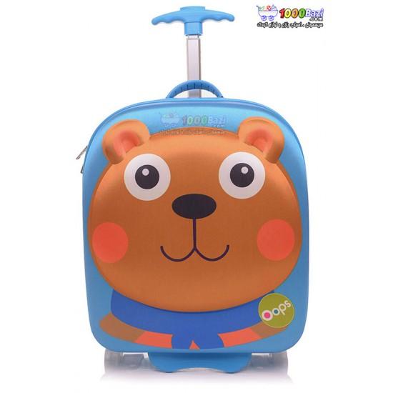 کیف چمدانی چرخدار طرح خرس oops