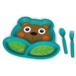 بشقاب غذای کودک با قاشق و چنگال طرح خرس Oops