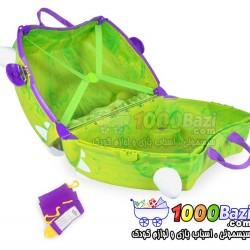 چمدان و اسباب بازی چرخدار کودک طرح Rex سبز Trunki