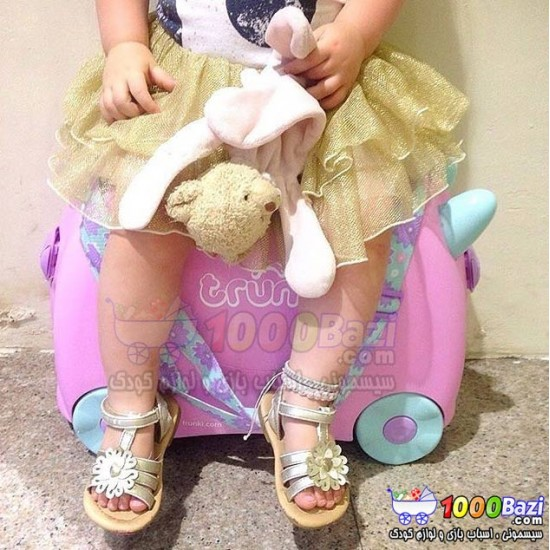 چمدان و اسباب بازی چرخدار دخترانه طرح صورتی کمرنگ Trunki