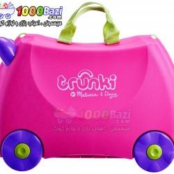 چمدان و اسباب بازی چرخدار کودک ترانکی صورتی ساده