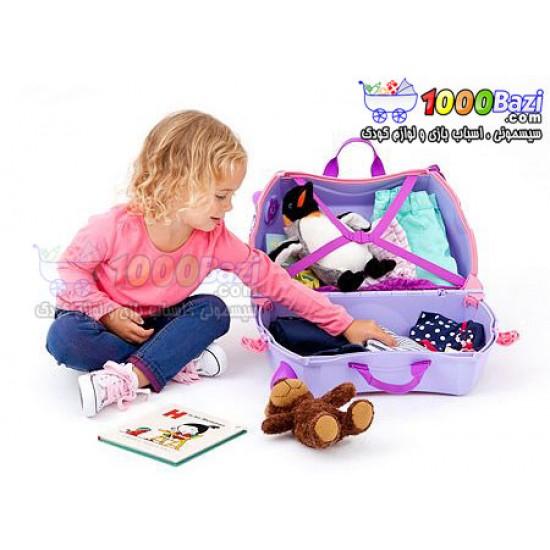 چمدان و اسباب بازی چرخدار دخترانه طرح اسب بنفش Trunki