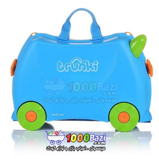 چمدان و اسباب بازی چرخدار کودک آبی Trunki