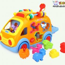 اتوبوس حیوانات موزیکال هولی تویز huile toys