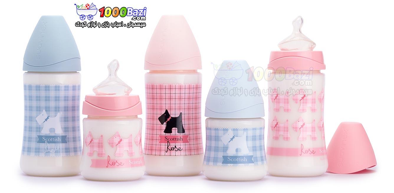شیشه شیر نوزاد پهن 150 میل صورتی Suavinex