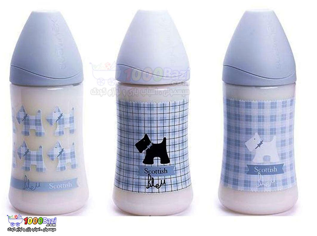 شیشه شیر پهن 270 میل پسرانه آبی کودک Suavinex