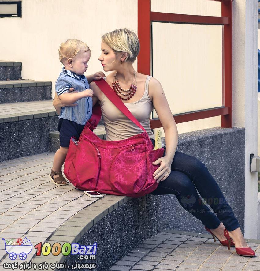 ساک لوازم نوزاد اوکی داگ قرمز Okiedog کیف لوازم بچه  سیسمونی