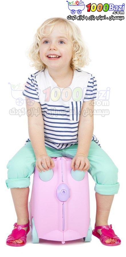 چمدان و اسباب بازی چرخدار کودک طرح صورتی کمرنگ Trunki