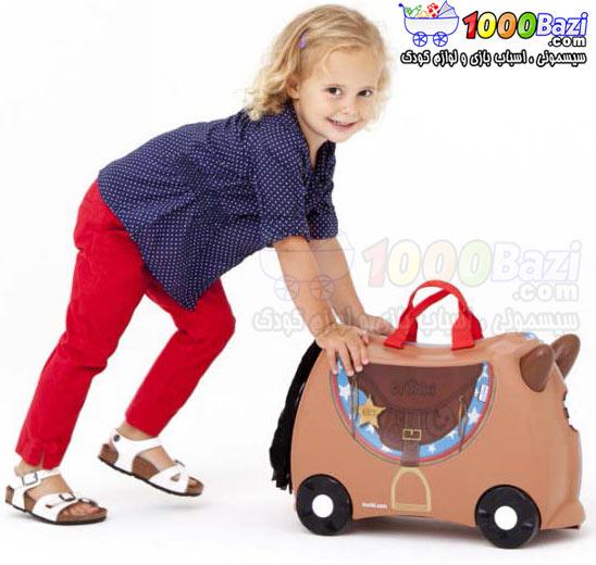 چمدان و اسباب بازی چرخدار کودک طرح اسب قهوه ای Trunki