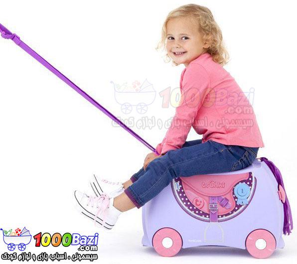 چمدان و اسباب بازی چرخدار کودک طرح اسب صورتی بنفش Trunki