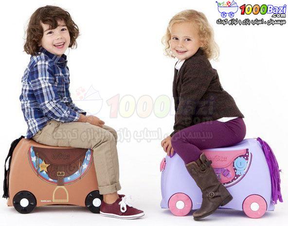 چمدان و اسباب بازی چرخدار مسافرتی کودک طرح اسب صورتی بنفش Trunki