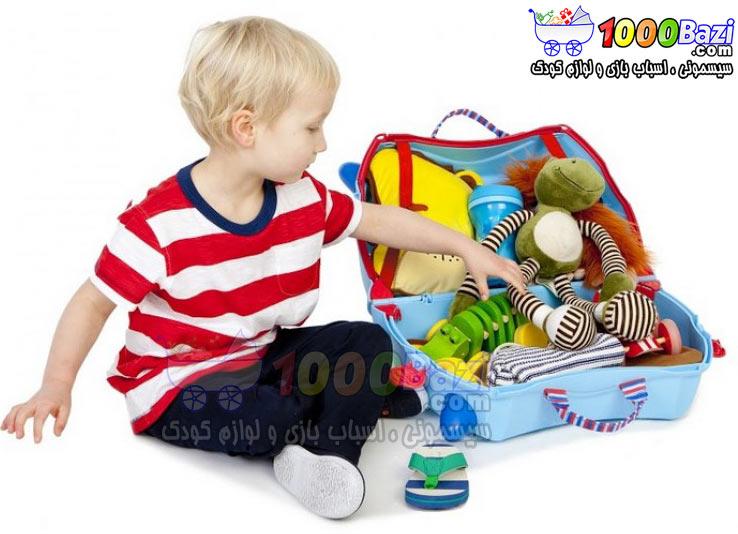 چمدان و اسباب بازی مسافرتی پسرانه چرخدار طرح آبی کمرنگ Trunki