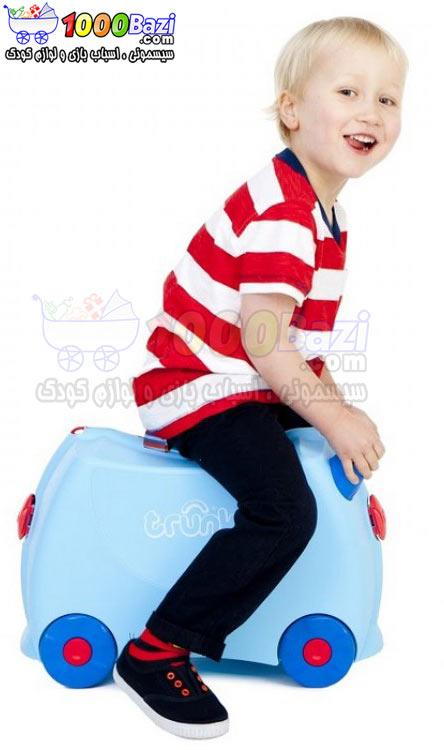 چمدان مسافرتی پسرانه چرخدار کودک طرح آبی کمرنگ Trunki