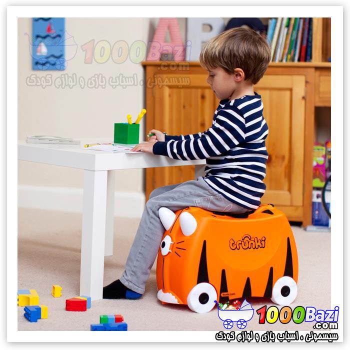 چمدان پسرانه چرخدار مسافرتی طرح ببر نارنجی Trunki