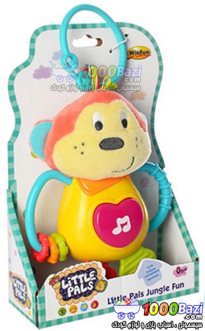 اسباب بازی آویز کریر کالسکه کودک طرح میمون Winfun