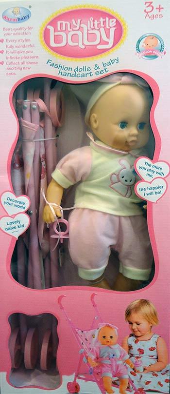 عروسک اسباب بازی همراه با چرخ دستی